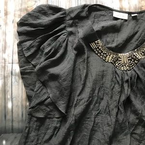 ⭐️Size 22/24 Avenue Dark Gray Blouse with Bling!